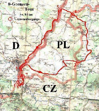 karte dreiländereck deutschland polen tschechien Martins Fahrradseiten   Touren   8 Grenzentour